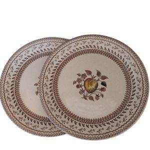 "2 Johnson Bros Staffordshire Old Granite 8"" plates"